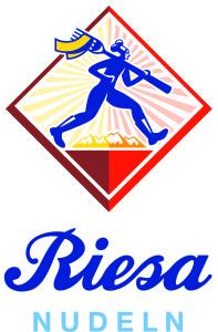 Riesa Logo_Schriftzug+Raute_hoch_4c_blau-hellblau